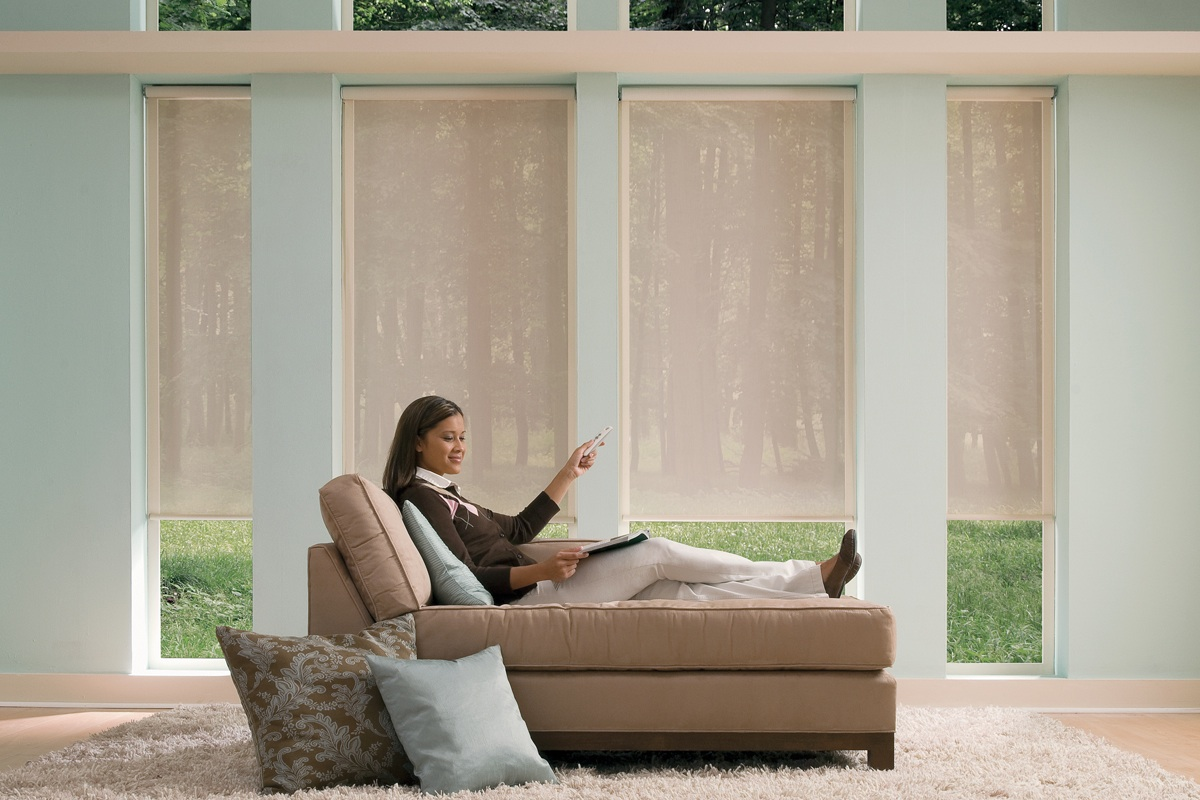Motorization custom drapery custom window treatments for Electric skylight shades motorized blinds